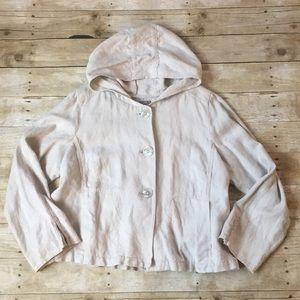 J. Jill Beige Hemp Button Hooded Jacket Size XL